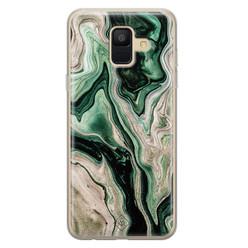 Casimoda Samsung Galaxy A6 2018 siliconen hoesje - Green waves