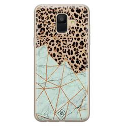 Casimoda Samsung Galaxy A6 2018 siliconen hoesje - Luipaard marmer mint