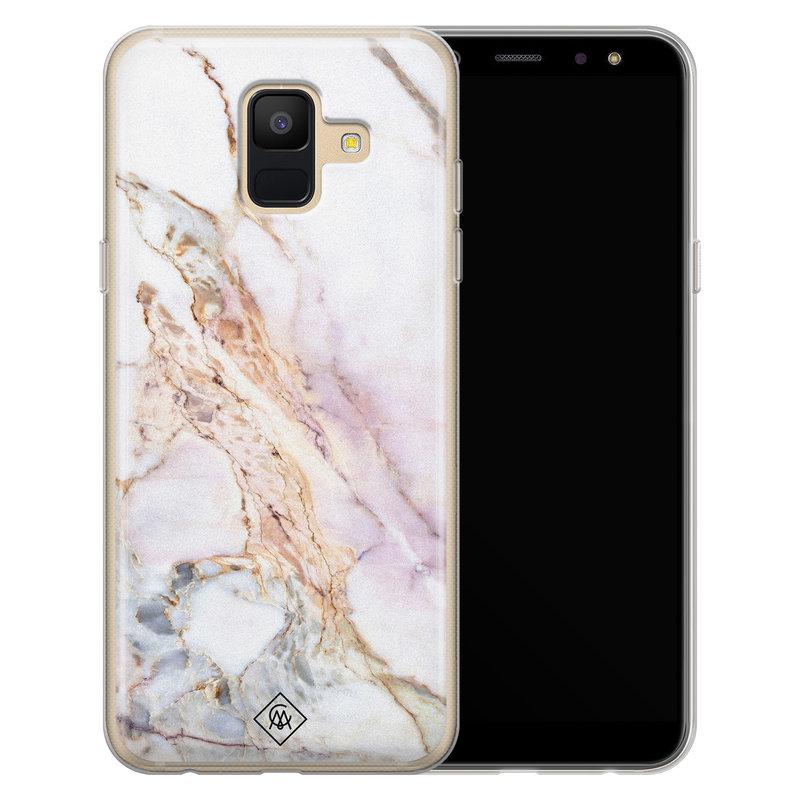 Casimoda Samsung Galaxy A6 2018 siliconen telefoonhoesje - Parelmoer marmer
