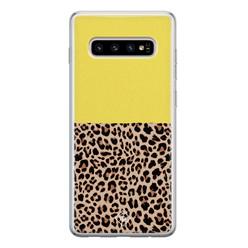 Casimoda Samsung Galaxy S10 siliconen hoesje - Luipaard geel