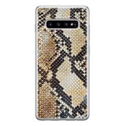 Casimoda Samsung Galaxy S10 siliconen hoesje - Golden snake