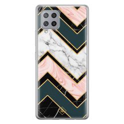 Casimoda Samsung Galaxy A42 siliconen hoesje - Marmer triangles