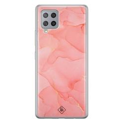 Casimoda Samsung Galaxy A42 siliconen hoesje - Marmer roze
