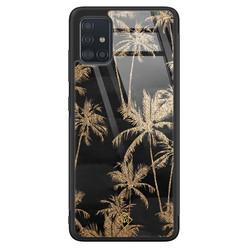 Casimoda Samsung Galaxy A71 glazen hardcase - Palmbomen