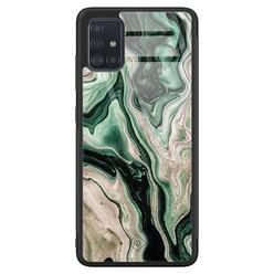 Casimoda Samsung Galaxy A71 glazen hardcase - Green waves