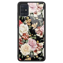 Casimoda Samsung Galaxy A71 glazen hardcase - Flowerpower