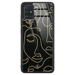 Casimoda Samsung Galaxy A71 glazen hardcase - Abstract faces