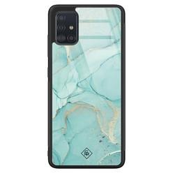 Casimoda Samsung Galaxy A71 glazen hardcase - Touch of mint
