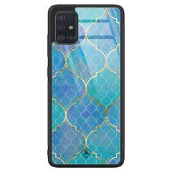 Casimoda Samsung Galaxy A71 glazen hardcase - Geometrisch blauw
