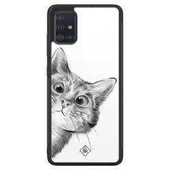 Casimoda Samsung Galaxy A71 glazen hardcase - Peekaboo