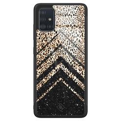 Casimoda Samsung Galaxy A71 glazen hardcase - Chevron luipaard