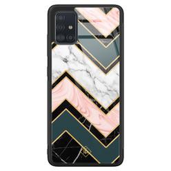 Casimoda Samsung Galaxy A71 glazen hardcase - Marmer triangles