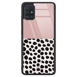 Casimoda Samsung Galaxy A71 glazen hardcase - Pink dots