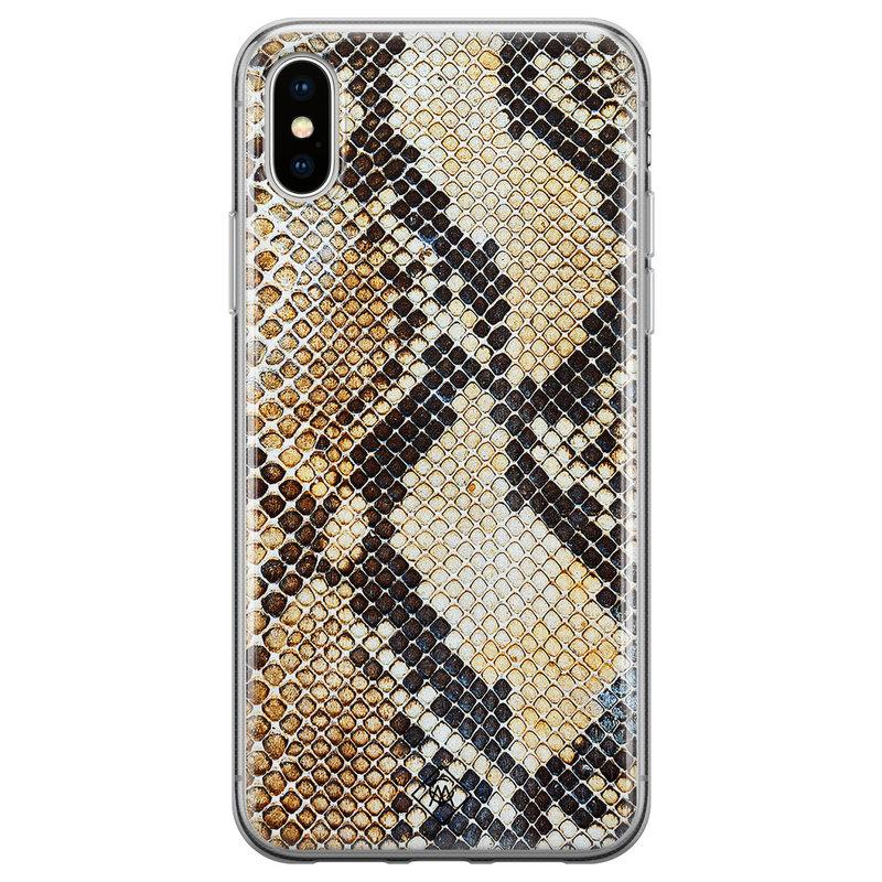 Casimoda iPhone XS Max siliconen hoesje - Golden snake