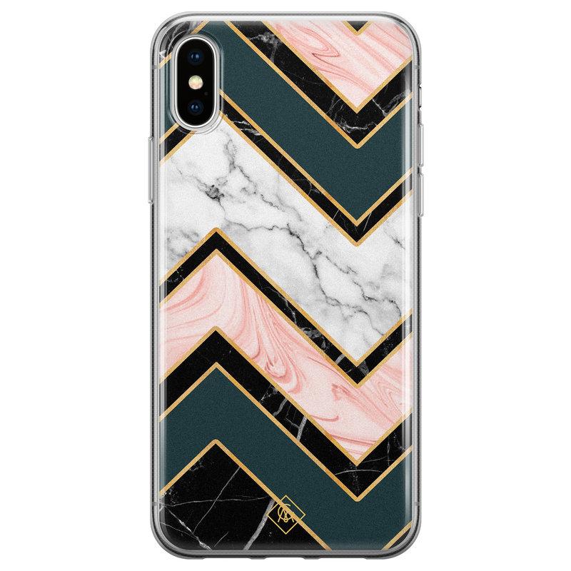 Casimoda iPhone XS Max siliconen hoesje - Marmer triangles