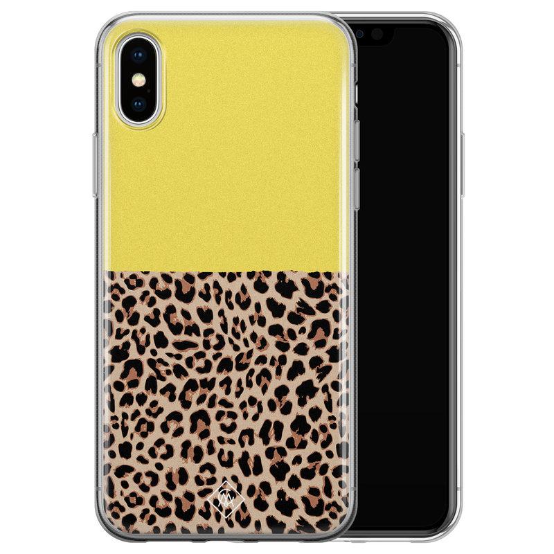 Casimoda iPhone XS Max siliconen hoesje - Luipaard geel