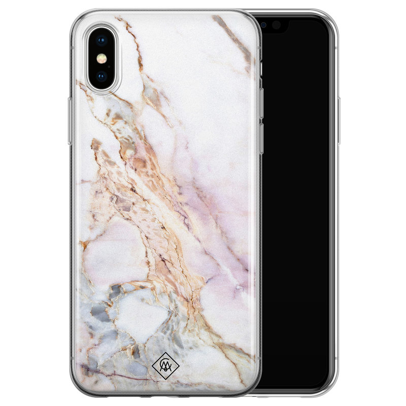 Casimoda iPhone XS Max siliconen hoesje - Parelmoer marmer