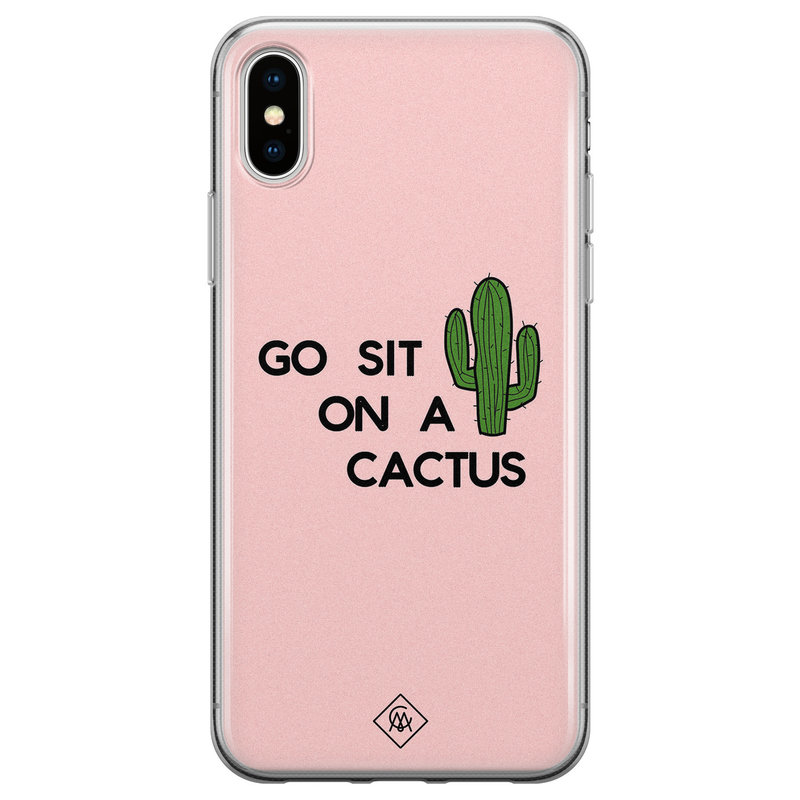Casimoda iPhone XS Max siliconen hoesje - Go sit on a cactus