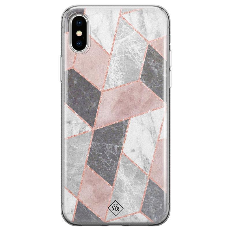 Casimoda iPhone XS Max siliconen hoesje - Stone grid