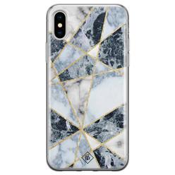 Casimoda iPhone XS Max siliconen hoesje - Marmer blauw
