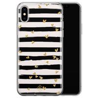 Casimoda iPhone XS Max siliconen hoesje - Hart streepjes