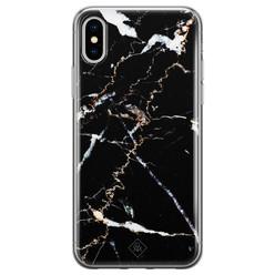 Casimoda iPhone XS Max siliconen hoesje - Marmer zwart