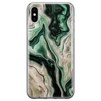 Casimoda iPhone XS Max siliconen hoesje - Green waves
