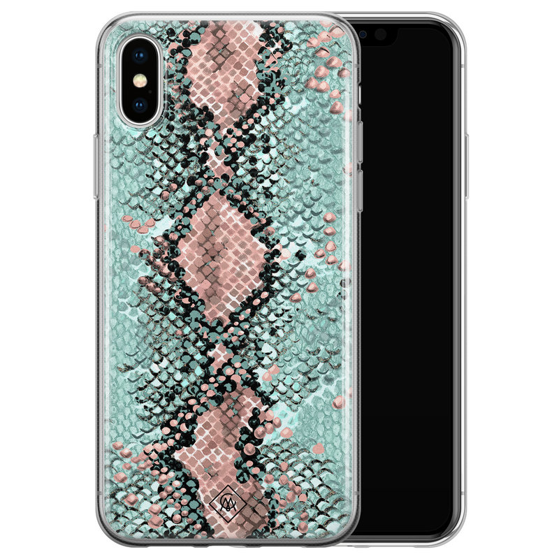 Casimoda iPhone XS Max siliconen hoesje - Snake pastel