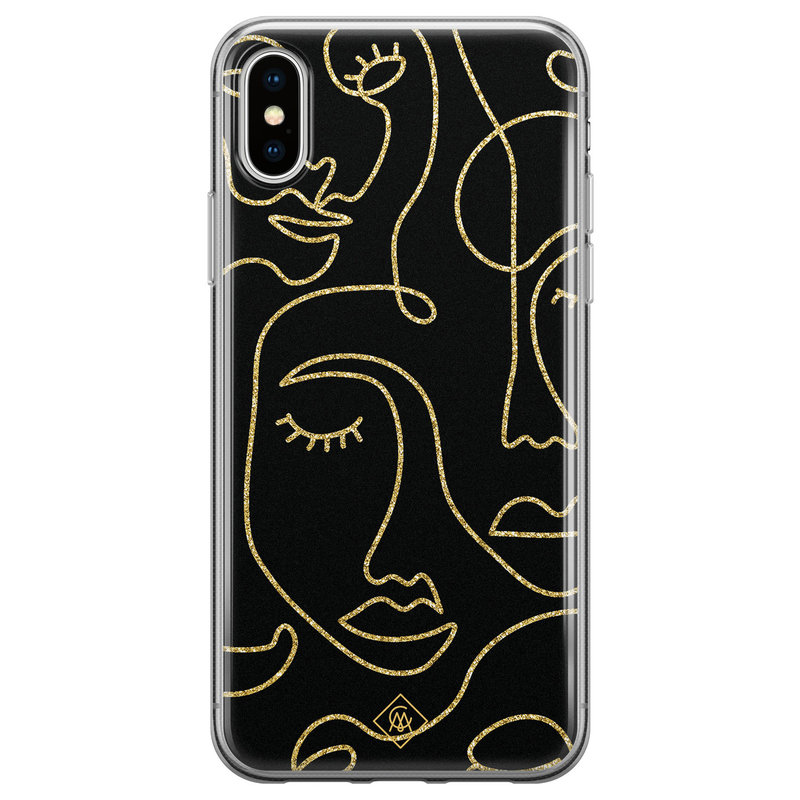 Casimoda iPhone XS Max siliconen hoesje - Abstract faces