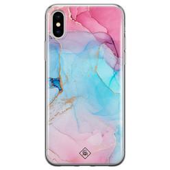 Casimoda iPhone XS Max siliconen hoesje - Marble colorbomb