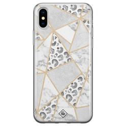 Casimoda iPhone XS Max siliconen hoesje - Stone & leopard print