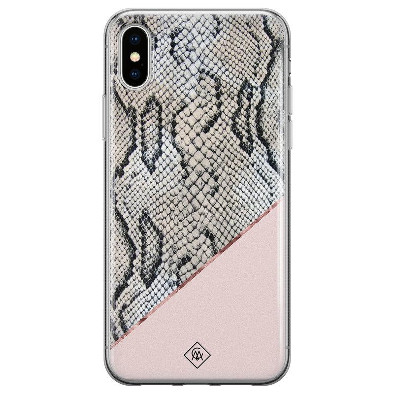 Casimoda iPhone XS Max siliconen hoesje - Snake print