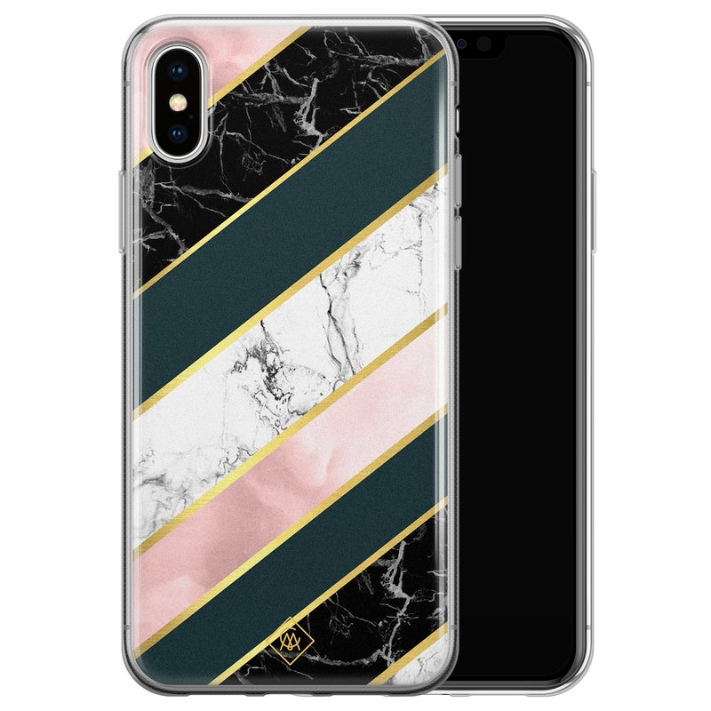 Casimoda iPhone XS Max siliconen hoesje - Marble stripes