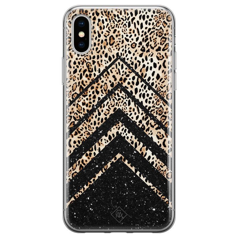 Casimoda iPhone XS Max siliconen hoesje - Chevron luipaard