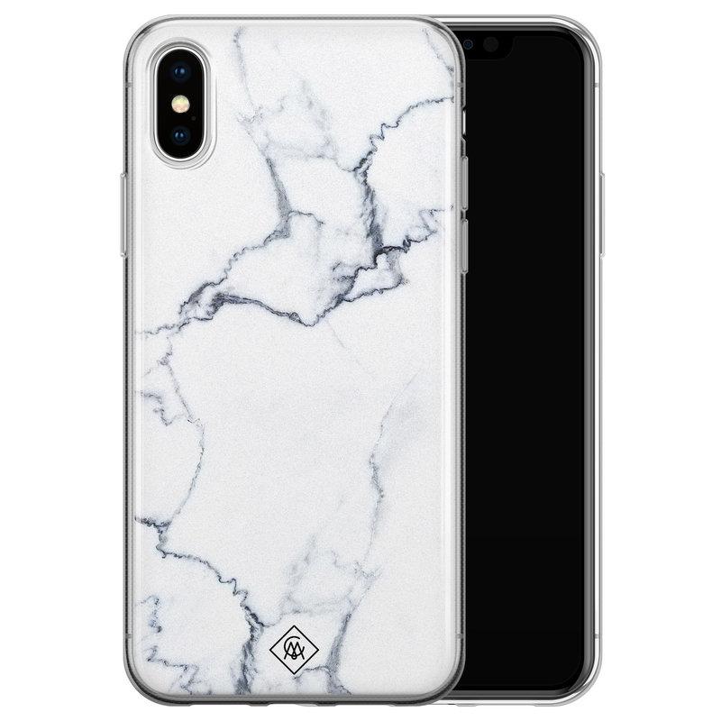 Casimoda iPhone XS Max siliconen hoesje - Marmer grijs