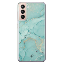 Casimoda Samsung Galaxy S21 siliconen hoesje - Touch of mint