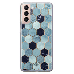 Casimoda Samsung Galaxy S21 siliconen hoesje - Blue cubes