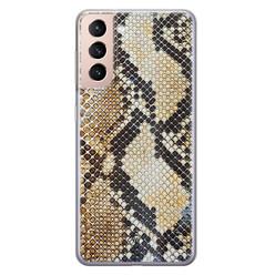 Casimoda Samsung Galaxy S21 siliconen hoesje - Golden snake