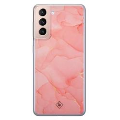 Casimoda Samsung Galaxy S21 siliconen hoesje - Marmer roze