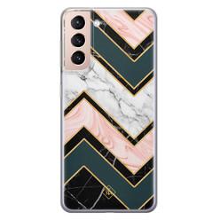 Casimoda Samsung Galaxy S21 siliconen hoesje - Marmer triangles