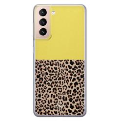 Casimoda Samsung Galaxy S21 siliconen hoesje - Luipaard geel