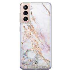 Casimoda Samsung Galaxy S21 siliconen hoesje - Parelmoer marmer