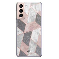 Casimoda Samsung Galaxy S21 siliconen hoesje - Stone grid