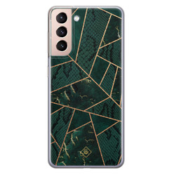 Casimoda Samsung Galaxy S21 siliconen hoesje - Abstract groen