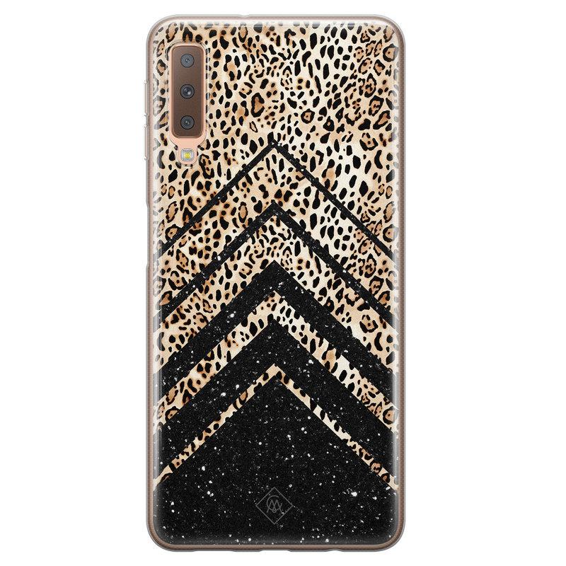 Casimoda Samsung Galaxy A7 2018 siliconen hoesje - Chevron luipaard