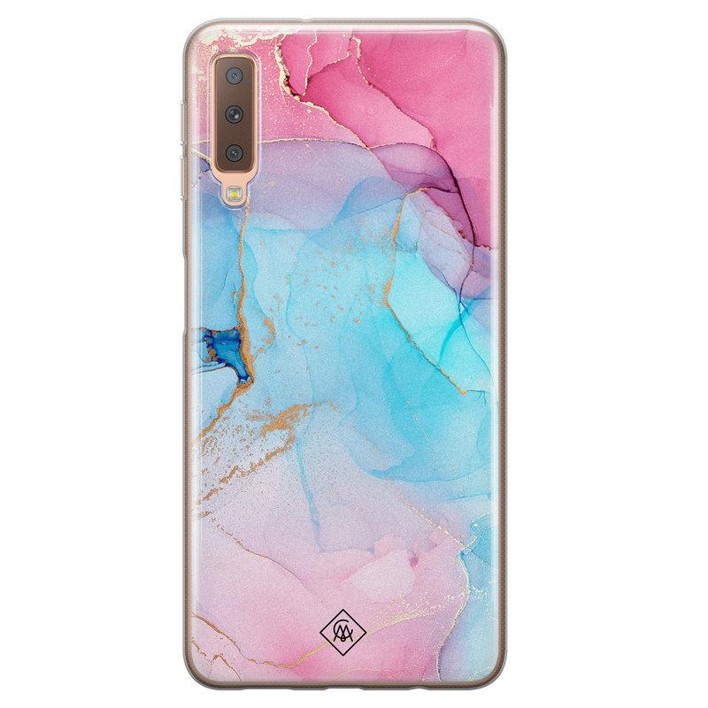 Casimoda Samsung Galaxy A7 2018 siliconen hoesje - Marble colorbomb