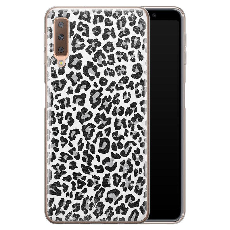 Casimoda Samsung Galaxy A7 2018 siliconen telefoonhoesje - Luipaard grijs