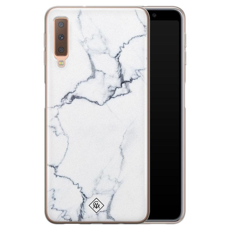 Casimoda Samsung Galaxy A7 2018 siliconen hoesje - Marmer grijs