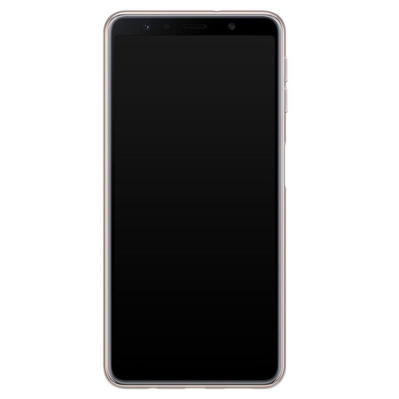 Casimoda Samsung Galaxy A7 2018 siliconen telefoonhoesje - Palm leaves silhouette