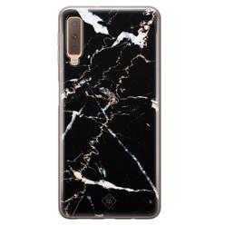 Casimoda Samsung Galaxy A7 2018 siliconen hoesje - Marmer zwart